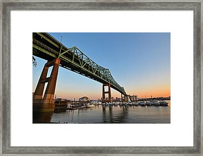 The Tobin Bridge Into The Sunset Framed Print by Toby McGuire