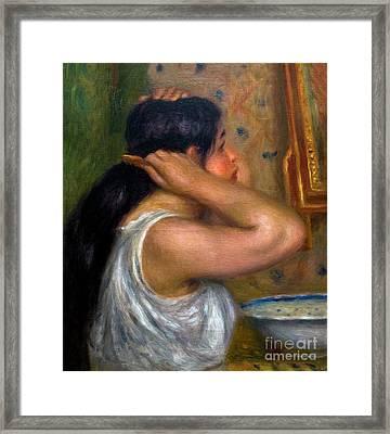 The Toilette, Woman Combing Her Hair, La Toilette, Femme Se Peig Framed Print by Peter Barritt