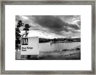 The Top Of Blue Ridge Dam In Black And White Framed Print