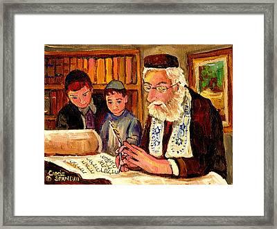 The Torah Scribe Framed Print by Carole Spandau