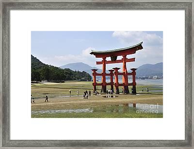 The Torii At Low Tide At Itsukushima Shrine Miyajima Japan  Framed Print