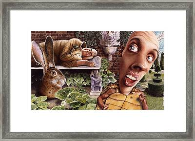 The Tortoise And The Hare Framed Print by Denny Bond
