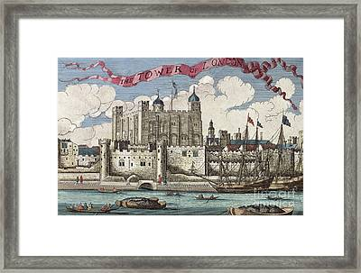 The Tower Of London Seen From The River Thames Framed Print by English School