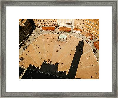 The Tower Shadow In Siena Framed Print by Roberto Pastrovicchio