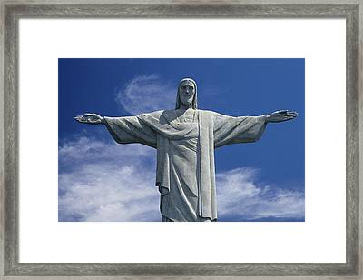 The Towering Statue Of Christ Framed Print by Richard Nowitz