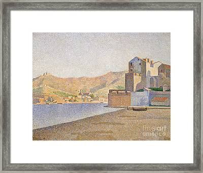 The Town Beach, Collioure Framed Print by Paul Signac