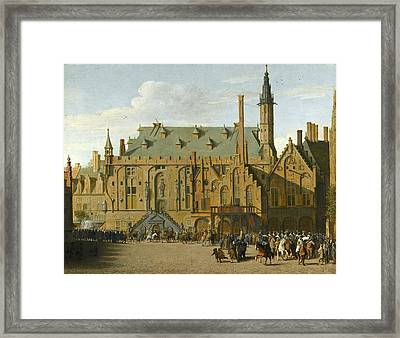 The Town Hall At Haarlem With The Entry Of Prince Maurits To Replace The Governers In 1618 Framed Print by Pieter Jansz Saenredam