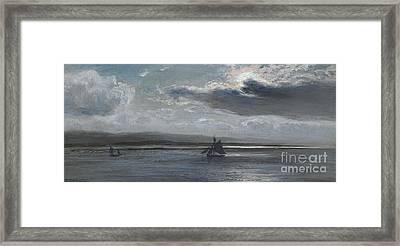 The Traeth Mawr, Moonlight Framed Print