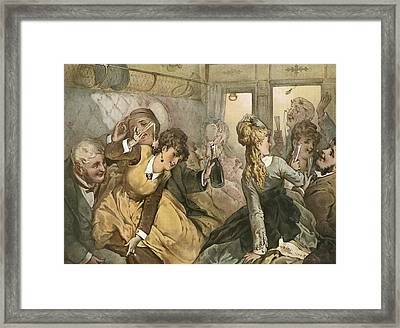 The Train Of Pleasure, Illustration Framed Print by Vintage Design Pics
