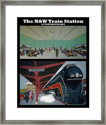 The Train Station At Portsmouth Ohio Framed Print by Frank Hunter