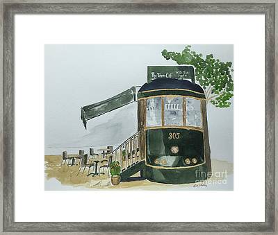 Framed Print featuring the painting The Tram Cafe by Eva Ason