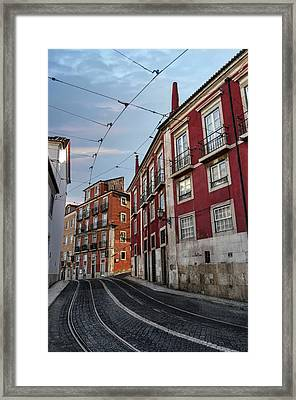 The Tram Stop Lisbon Framed Print by Carol Japp