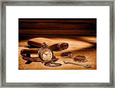 The Traveler - Sepia Framed Print by Olivier Le Queinec