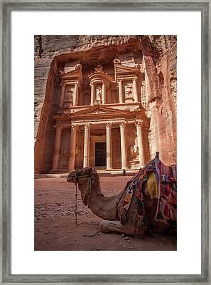 The Treasury. Petra, Jordan. Framed Print by Nicholas Tinelli
