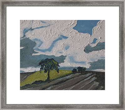 The Tree By The Brown Field Framed Print by Francois Fournier
