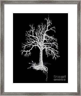 The Tree - White On Black  Framed Print