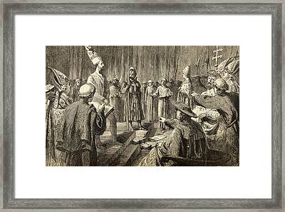 The Trial And Degradation Of John Huss Framed Print