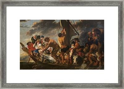 The Tribute Money - Peter Finding The Silver Coin In The Mouth Of The Fish. Framed Print