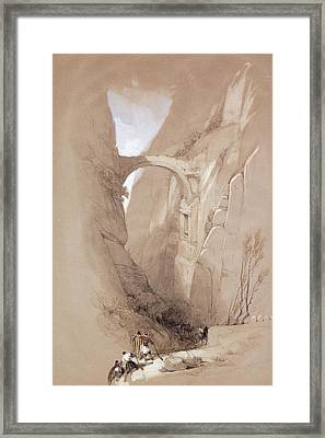 The Triumphal Arch Crossing The Ravine Leading To Petra, 1839 Framed Print by David Roberts
