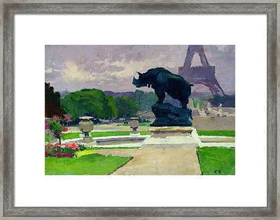 The Trocadero Gardens And The Rhinoceros Framed Print by Jules Ernest Renoux