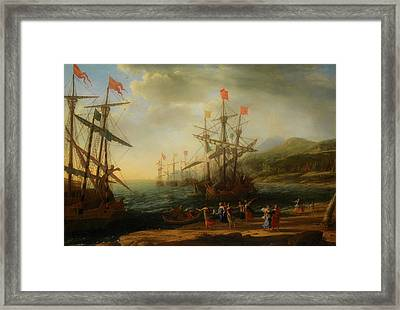 Framed Print featuring the painting The Trojan Women Setting Fire To The Fleet by Claude Lorrain
