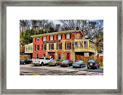 The Trolley Stop Framed Print