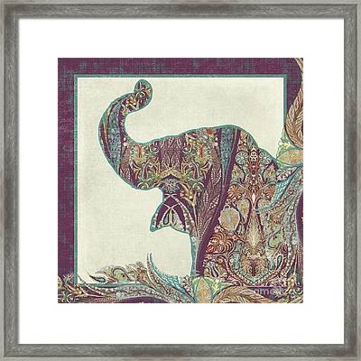 The Trumpet - Elephant Kashmir Patterned Boho Tribal Framed Print by Audrey Jeanne Roberts
