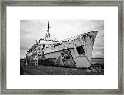The Tss Duke Of Lancaster Funship Project At Mostyn North Wales Uk Framed Print by Joe Fox