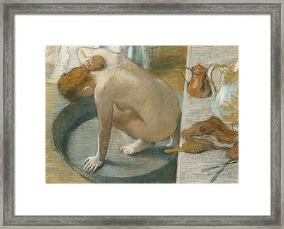 The Tub Framed Print by Edgar Degas
