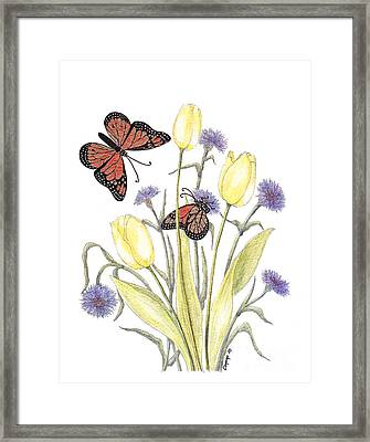 Framed Print featuring the painting The Tulip And The Butterfly by Stanza Widen