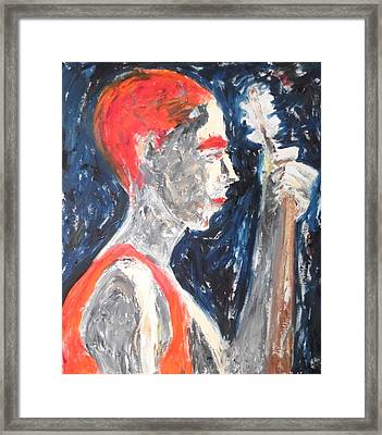 Framed Print featuring the painting The Turkish Baglama Player by Esther Newman-Cohen