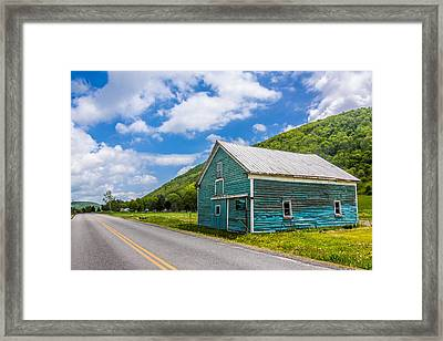 Framed Print featuring the photograph The Turquoise Barn by Paula Porterfield-Izzo