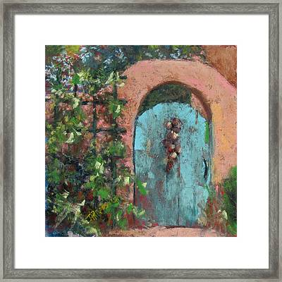 The Turquoise Door Framed Print by Julia Patterson