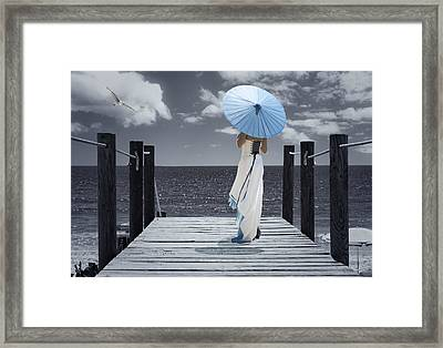 The Turquoise Parasol Framed Print
