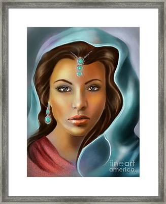 The Turquoise Rania... Framed Print by Gabriela Tasiro