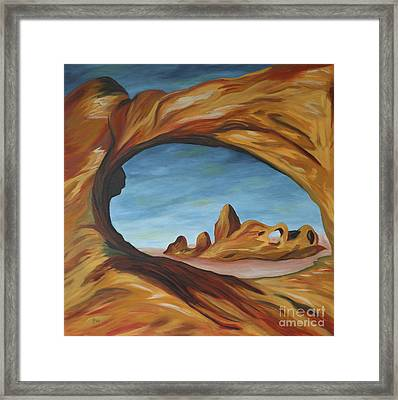 The Turret Arch Through North Window Framed Print by Christiane Schulze Art And Photography