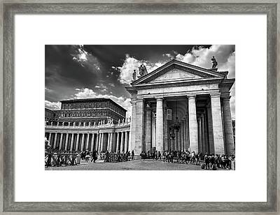 The Tuscan Colonnades In The Vatican Framed Print