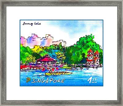 The Twin Pagodas On Jurong Lake Framed Print by Lanjee Chee