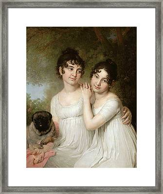 The Twins And A Pug Framed Print by Vladimir Lukic