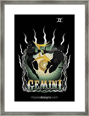 Framed Print featuring the drawing The Twins - Gemini Spirits by Raphael Lopez
