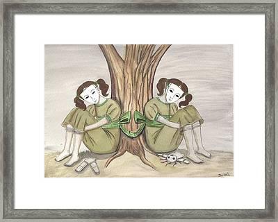 The Twins Wait Framed Print