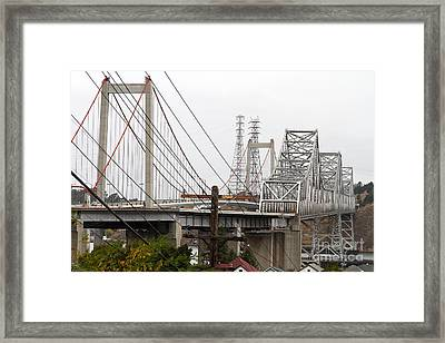 The Two Carquinez Bridges At Crockett And Vallejo California . Aka Alfred Zampa Memorial Bridge . 7d8919 Framed Print