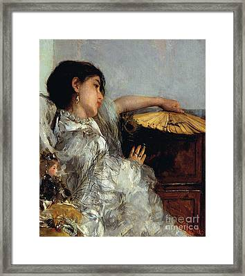 The Two Dolls Or Young Or Oriental Girl With Fan, 1876 Framed Print by Antonio Mancini