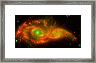 The Two Galaxies Ngc 2207 And Ic 2163 In The Canis Major Constellation Framed Print by American School
