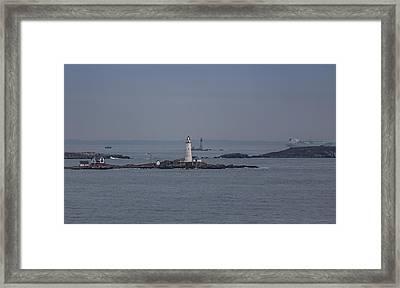 The Two Harbor Lighthouses Framed Print