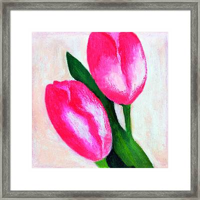 The Two Pink Tulips Framed Print by Farah Faizal