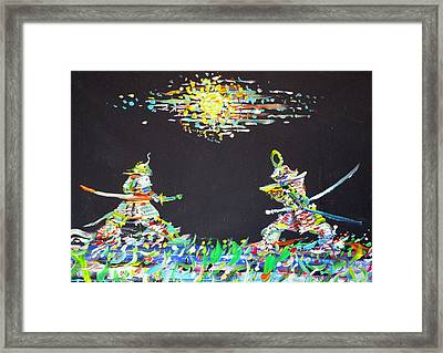 Framed Print featuring the painting The Two Samurais by Fabrizio Cassetta
