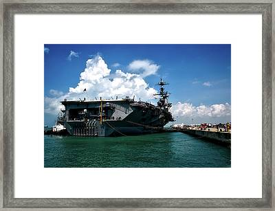 The U S S John C Stennis In Port Framed Print