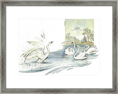 The Ugly Duckling - Joining Flock Of Other Swans On Sunny Lake - Illustration For Classic Fairy Tale Framed Print by Elena Abdulaeva