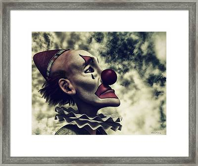 The Understanding Clown Framed Print by Ramon Martinez
